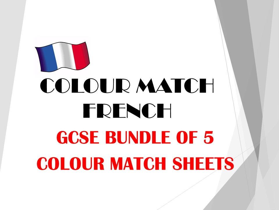 GCSE FRENCH colour match bundle 3 TRAVEL AND TOURISM