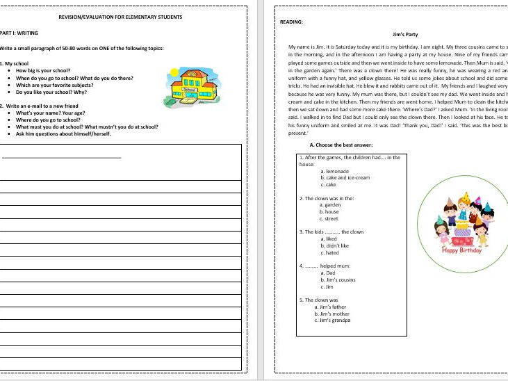 REVISION-EVALUATION WORKSHEET FOR BEGINNERS TO ELEMENTARY STUDENTS