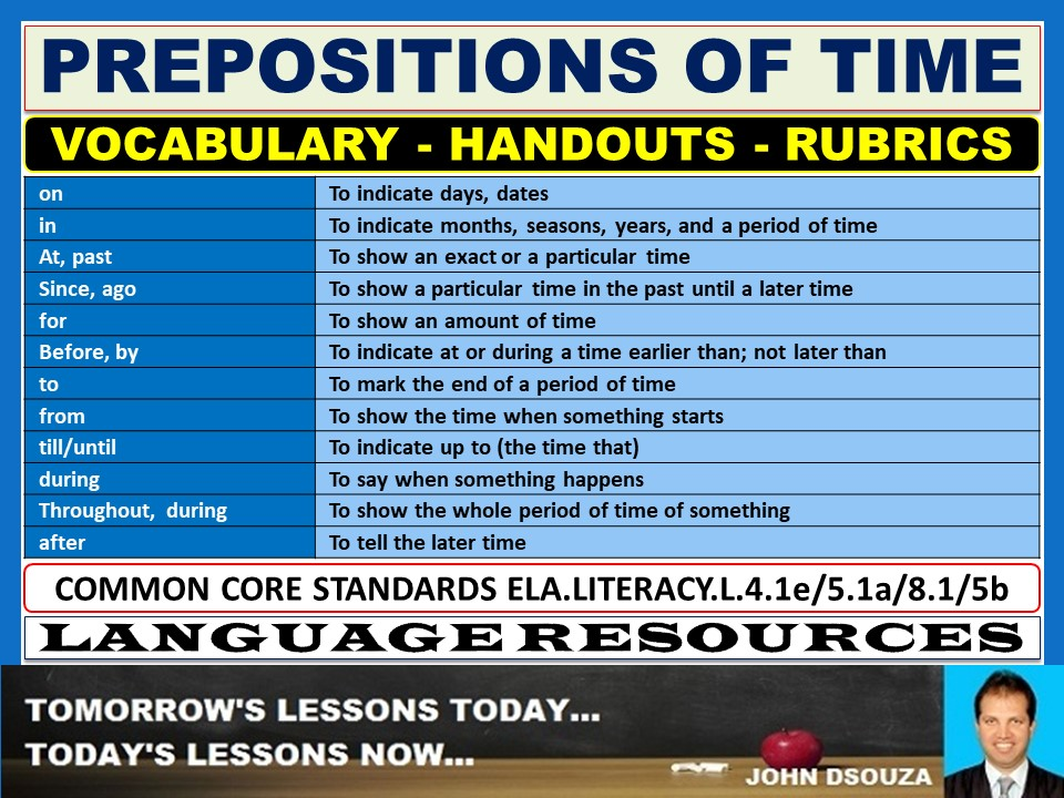 PREPOSITIONS OF TIME HANDOUTS