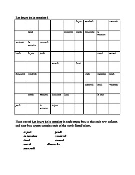 Jours de la semaine (Days of the week in French) Sudoku