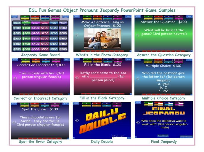 Object Pronouns Jeopardy PowerPoint Game