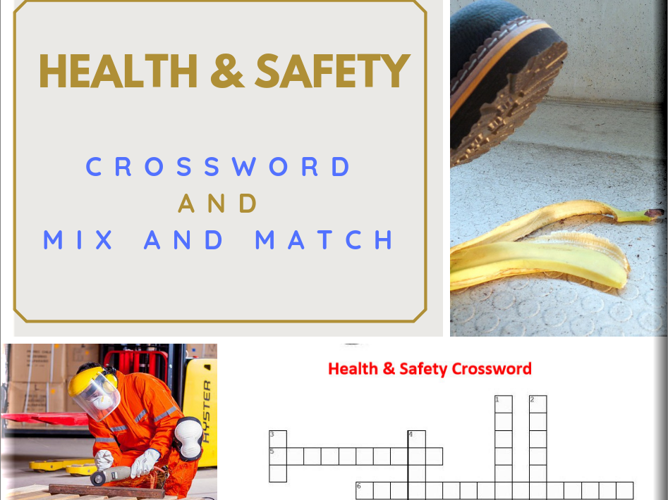 Health and Safety basic Crossword Puzzle and Mix and Match Worksheet