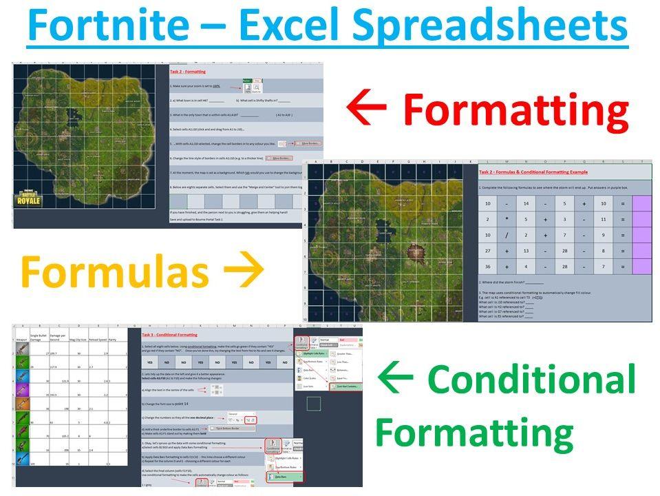 Fortnite Spreadsheet Activities x 3