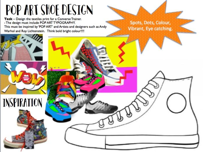 POP ART Shoe Design Cover Lesson / Homework