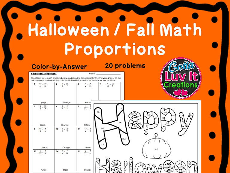 Halloween Fall Proportions Bundle Maze & Color by Number Coloring Page