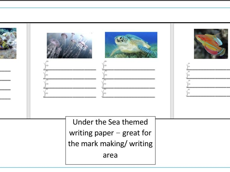 Under the Sea themed writing paper