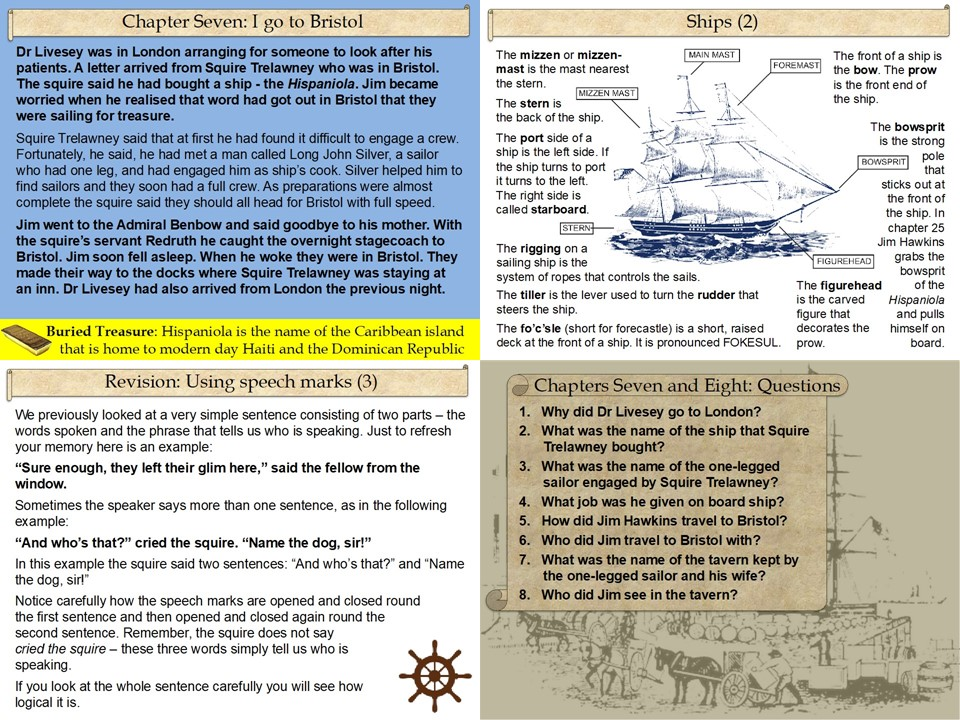 Treasure Island Part Two PowerPoint Lesson Pack: 17 slides