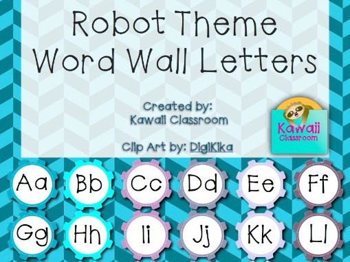 Robot Theme Word Wall Letters