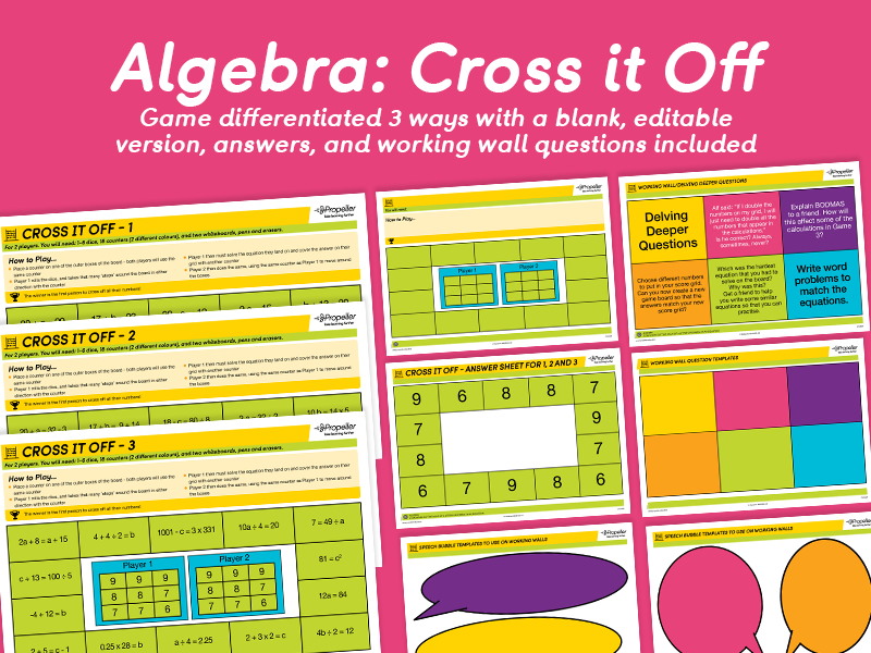 Algebra: Cross it Off Game (Differentiated)