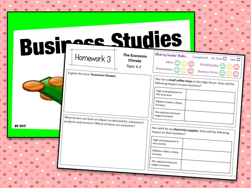 OCR GCSE Business Studies (J204) Homework Booklet 2c - Influences on Business
