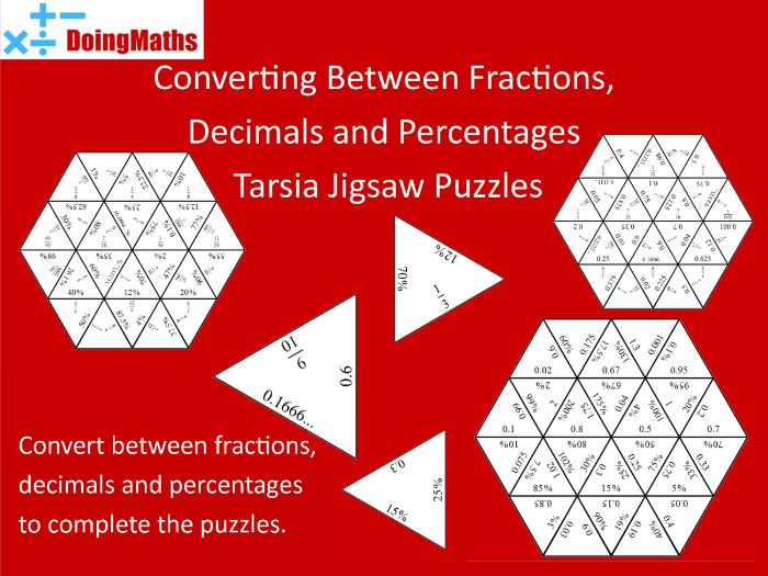 Converting between fractions, decimals and percentages match-up jigsaw puzzles