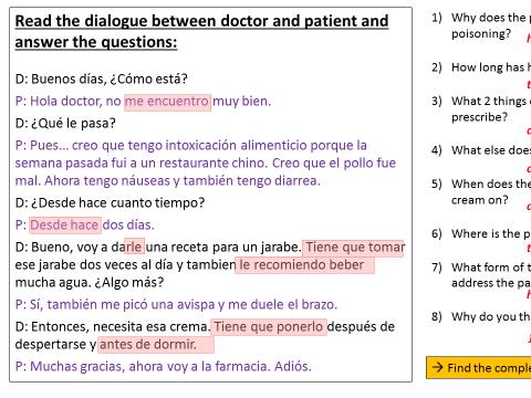 Al medico (Y9 Spanish Viva 3)