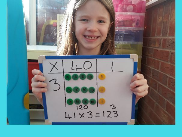 Grid method multiplication - using place value counters