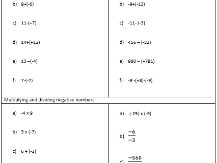 H2- Adding, subtracting, multiplying and dividing negative numbers homework