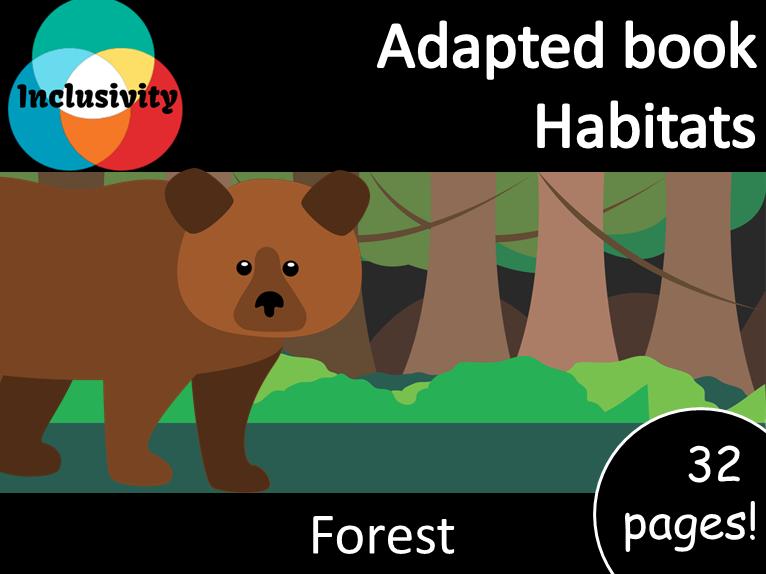 Adapted book habitat Forest Levels 1, 2 and 3; matching activity and animal sort