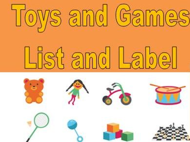 Toys and Games List and Label Worksheets
