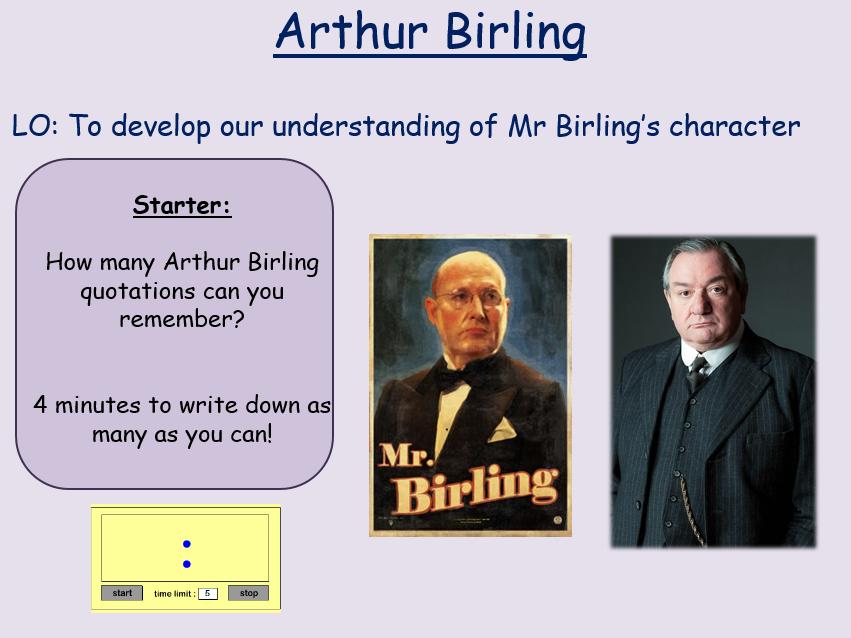 Arthur Birling Revision An Inspector Calls