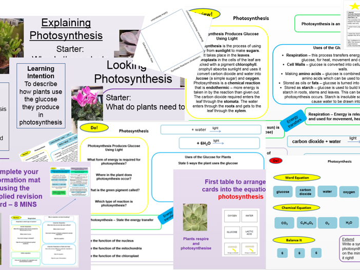 Photosynthesis, Uses of Glucose, Structure of Leaf, Limiting Factors, Respiration, Metabolism, Exercise,  Required Practical, Outstanding Lessons, Revision Cards, Activities, AQA 9-1 Full Bioenergetics Topic Ready to Teach