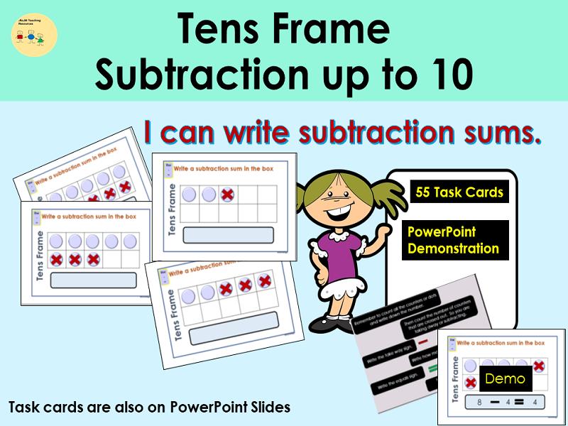 Subtraction Tens Frame Presentation Demo 55 Task Cards Teacher Notes