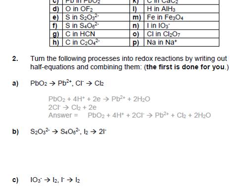 Redox calculations