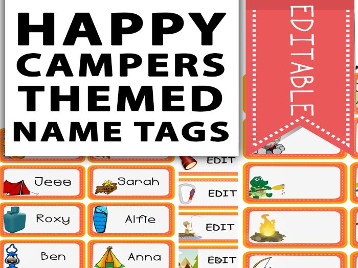 Happy Campers Themed Name Tags