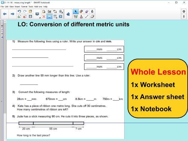 Whole Lesson - Measuring length - mm cm - measurement convert -  applying problems - KS2 Year 5 – 6