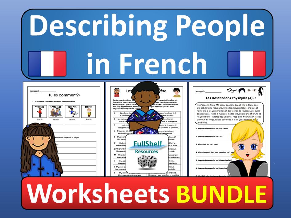 Describing People in French Worksheets BUNDLE