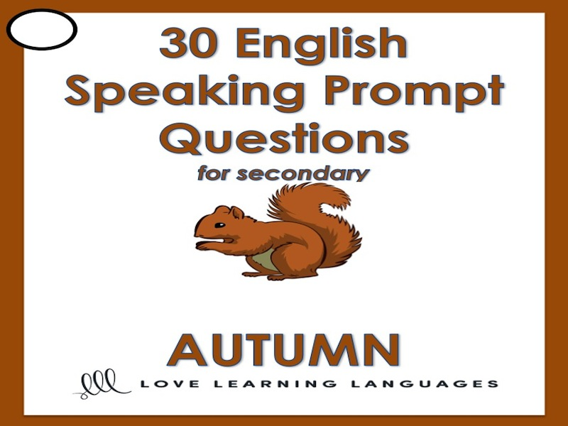 Fall vocabulary - 30 speaking prompt question cards in English