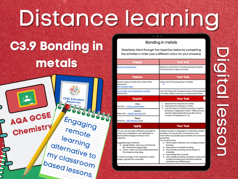 SC3.9 Bonding in metals: Distance learning (AQA GCSE Chemistry)