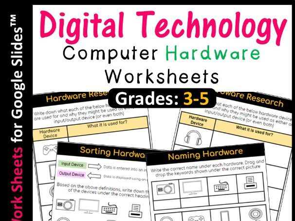 Computer Hardware Worksheets (Distance Learning)
