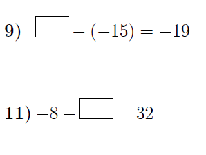 Subtracting integers: missing numbers worksheet no 3 (with solutions)