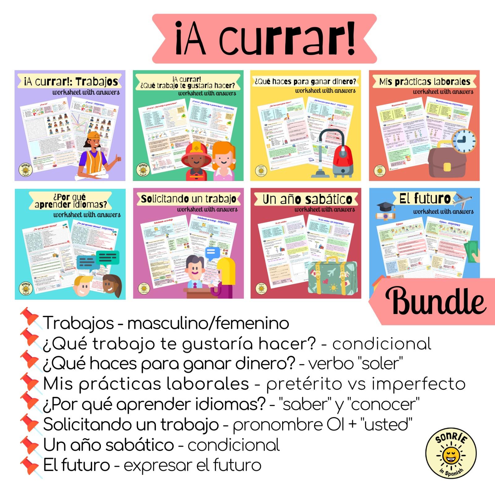 ¡A currar! Pack de fichas con soluciones sobre el tema del trabajo. Spanish GCSE bundle on the world of work. Worksheets with answers