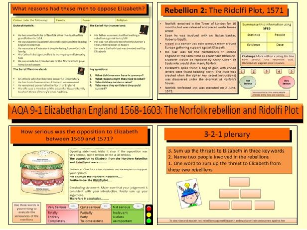 AQA GCSE History 9-1 Elizabethan England 1568-1603: The Northern Rebellion and Ridolfi Plot