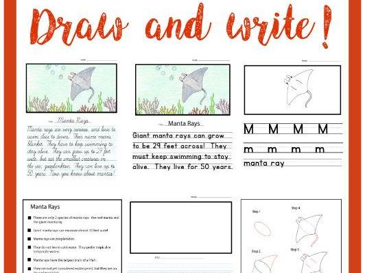 Drawing & Handwriting Course - Animal Alphabet - Literacy Center - Draw & Write