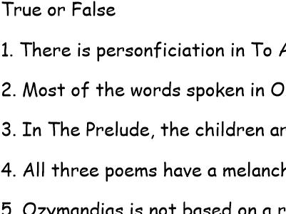 Poetry Quiz on Ozymandias, The Prelude and To Autumn