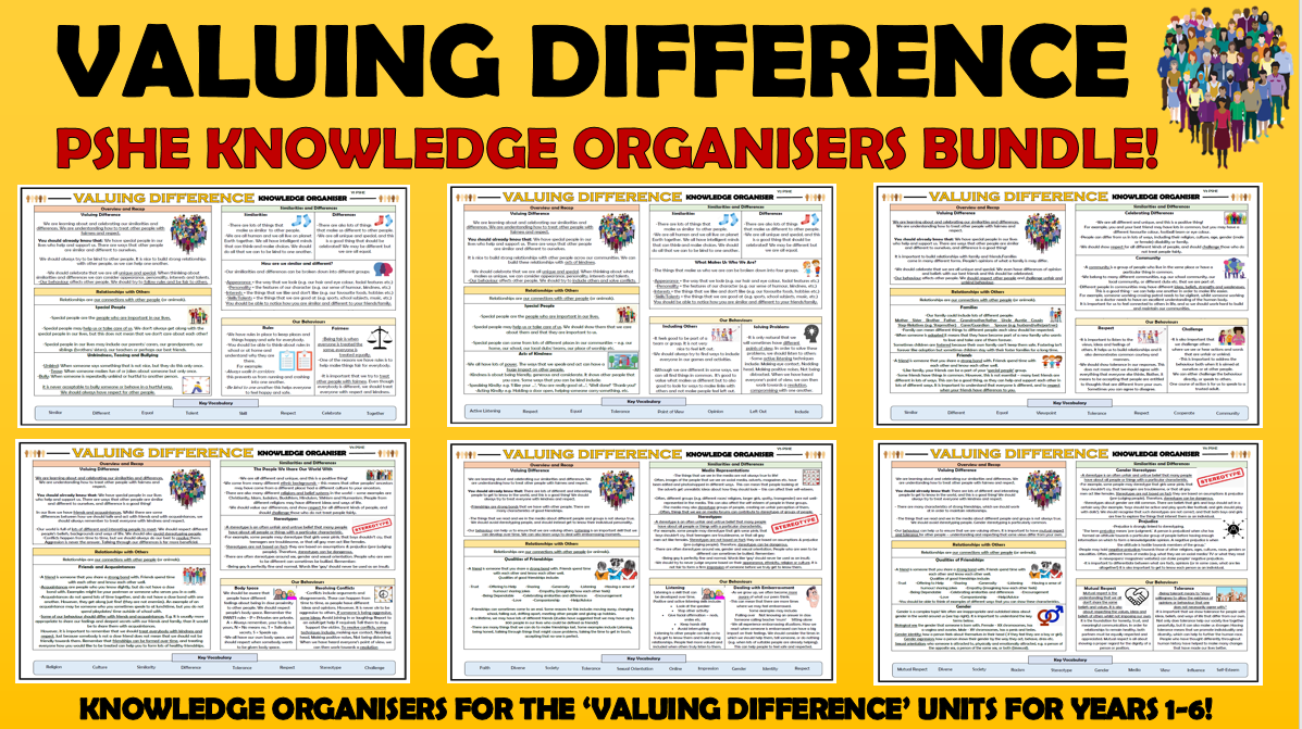 PSHE: Valuing Difference Primary Knowledge Organisers Bundle!