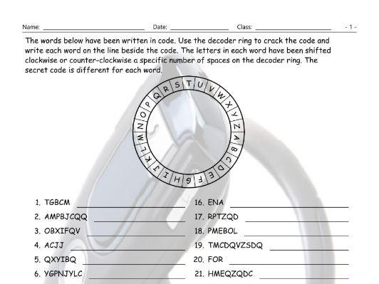 Technology-Gadgets Decoder Ring Worksheet