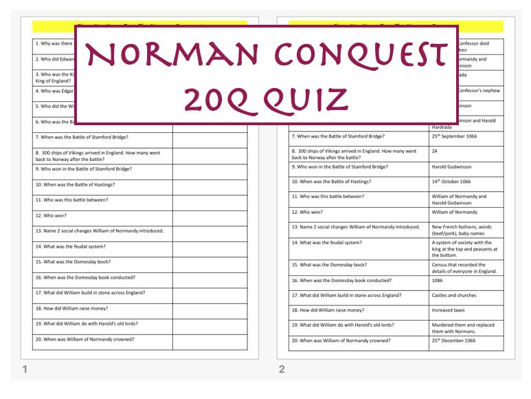 Norman Conquest Quiz