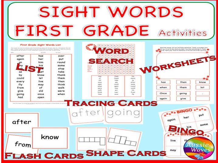 Sight Words GRADE 1 Word Games, Activities, Flash Cards, Bingo