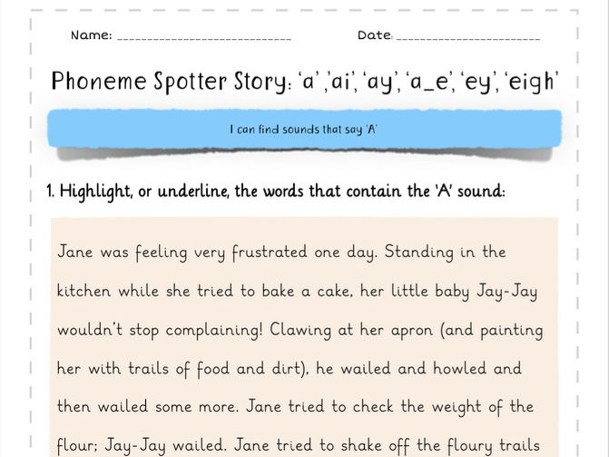 Phoneme Spotter Story 'A' Sounds: 'ai', 'a_e', 'ay', 'eigh'