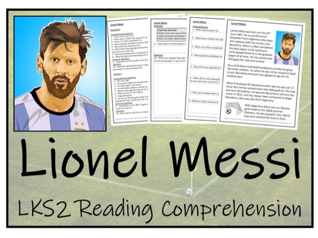 LKS2 Literacy - Lionel Messi Reading Comprehension Activity