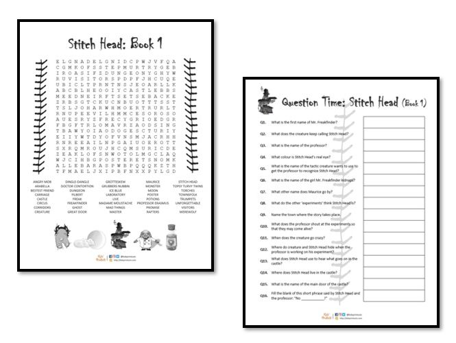Stitch Head Book 1 activities - wordsearch + question sheet