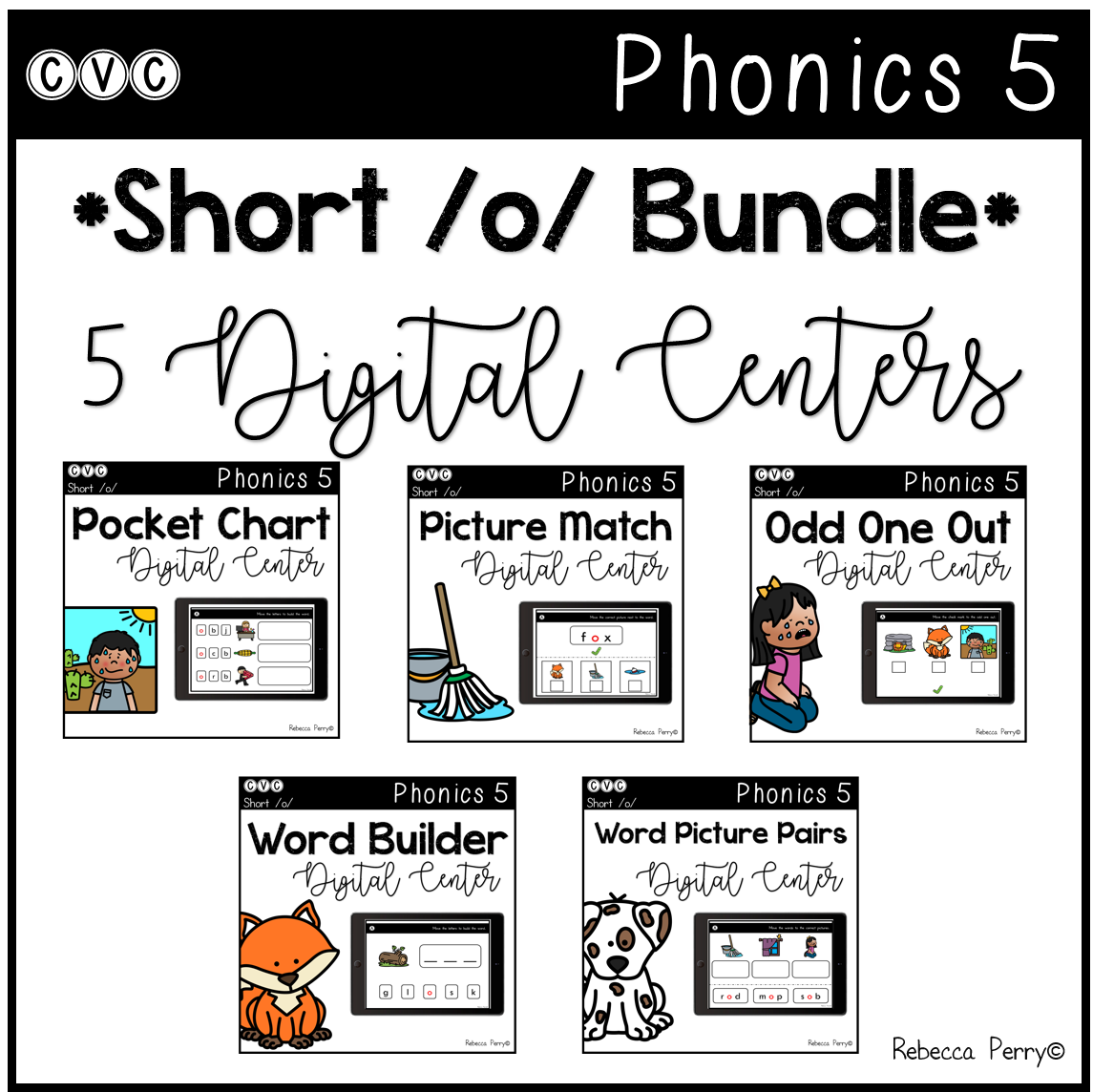 CVC Short O Bundle - 5 Digital Centers - Phonics (Google Classroom)