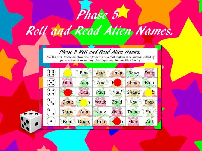 Phonics Screening - Phase 5 Roll and Read Alien Names