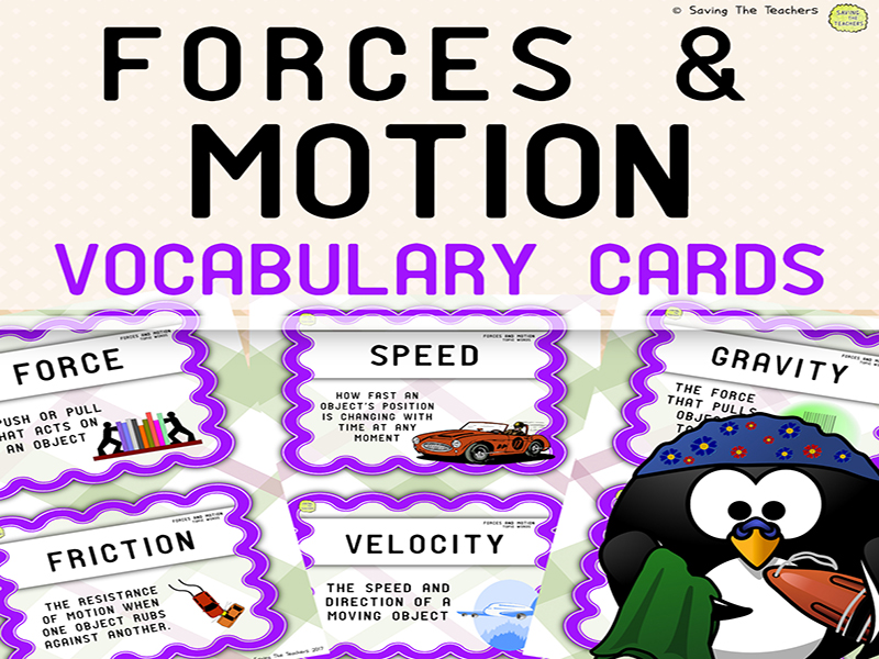 Forces and Motion Display Vocabulary Cards