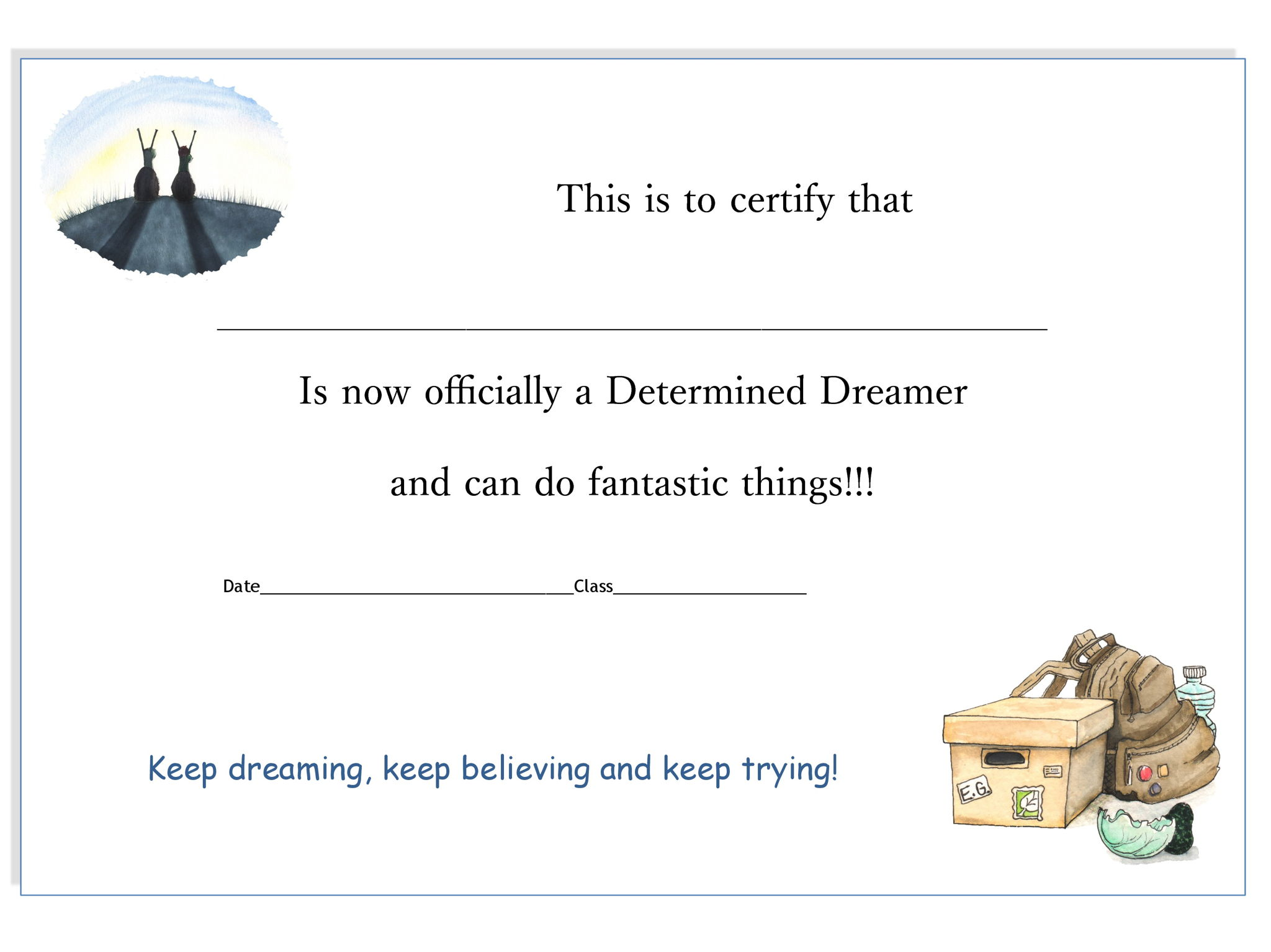 I am a Determined Dreamer - Certificate