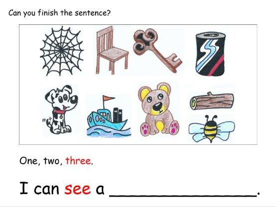 CVC worksheets: One,Two,Three I can see