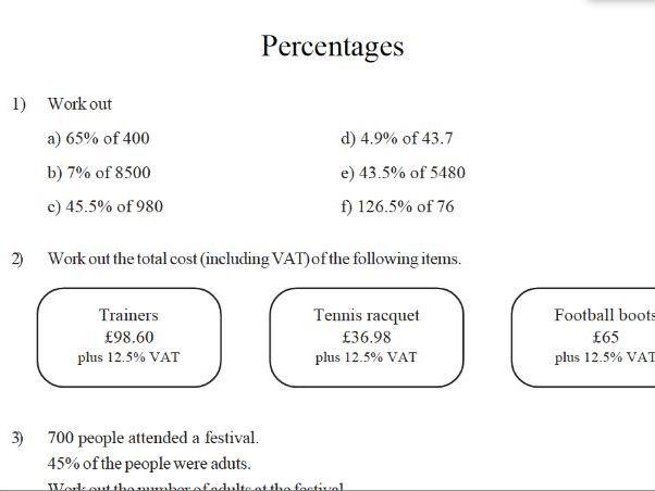 GCSE maths worksheet – percentages