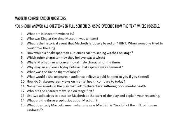 Macbeth Comprehension Questions