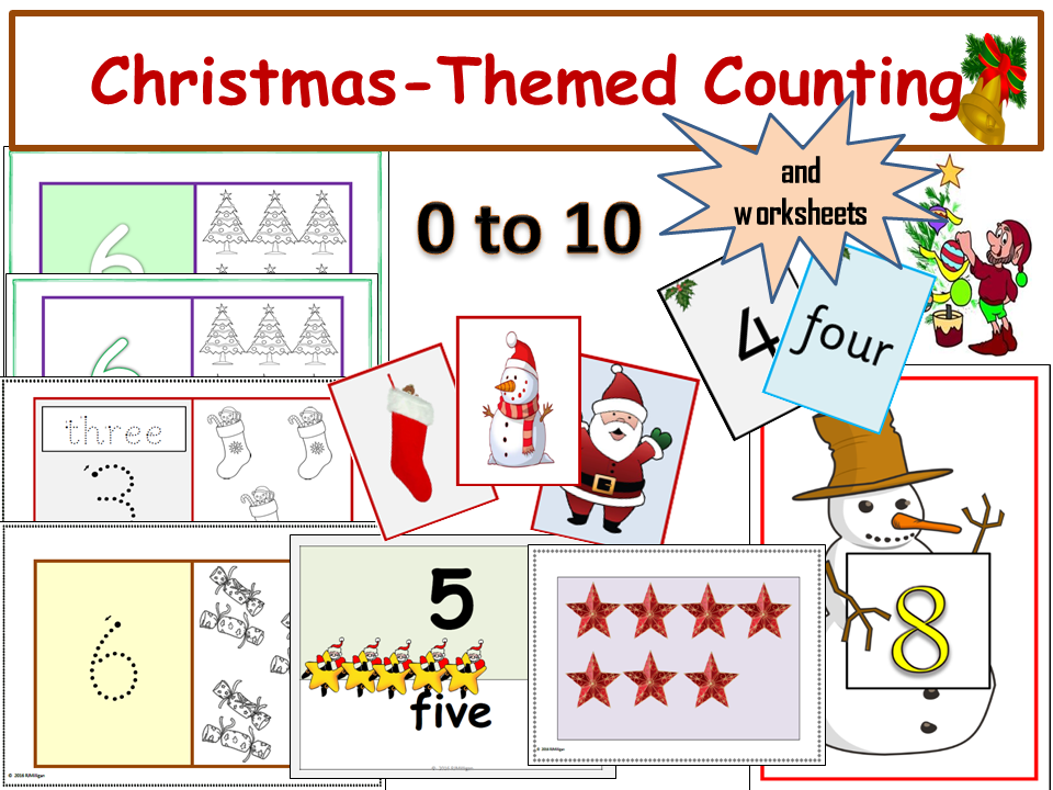 Christmas-Themed Counting 0 -10, Presentation, Displays/Flash cards ...